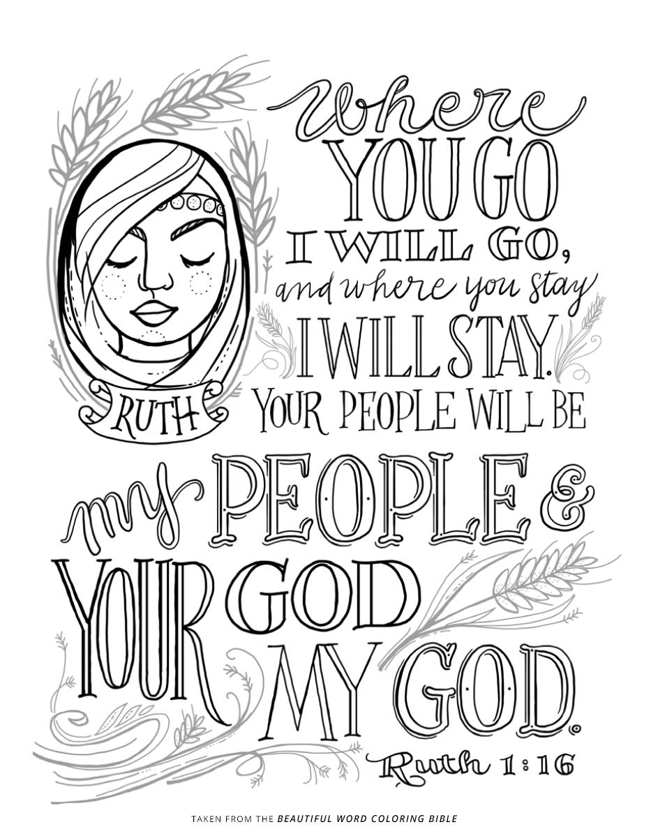 Beautiful Word Coloring Bible sheet Ruth 1:16 - NIV Bible