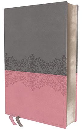 NIV Life Application Study Bible pink-grey leathersoft