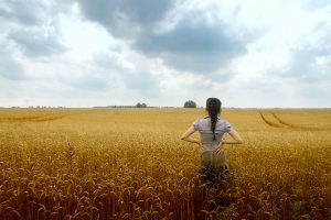 woman looking out into field